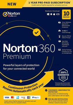Symantec NORTON 360 Premium 2021 (10PC - 1 Year)